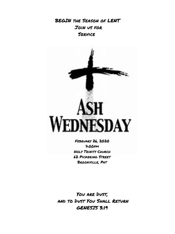 Ash Wednesday 2020 Poster